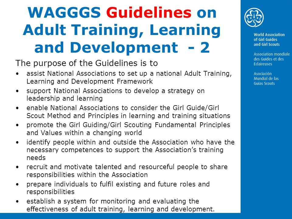 WAGGGS Guidelines on Adult Training, Learning and Development - 2