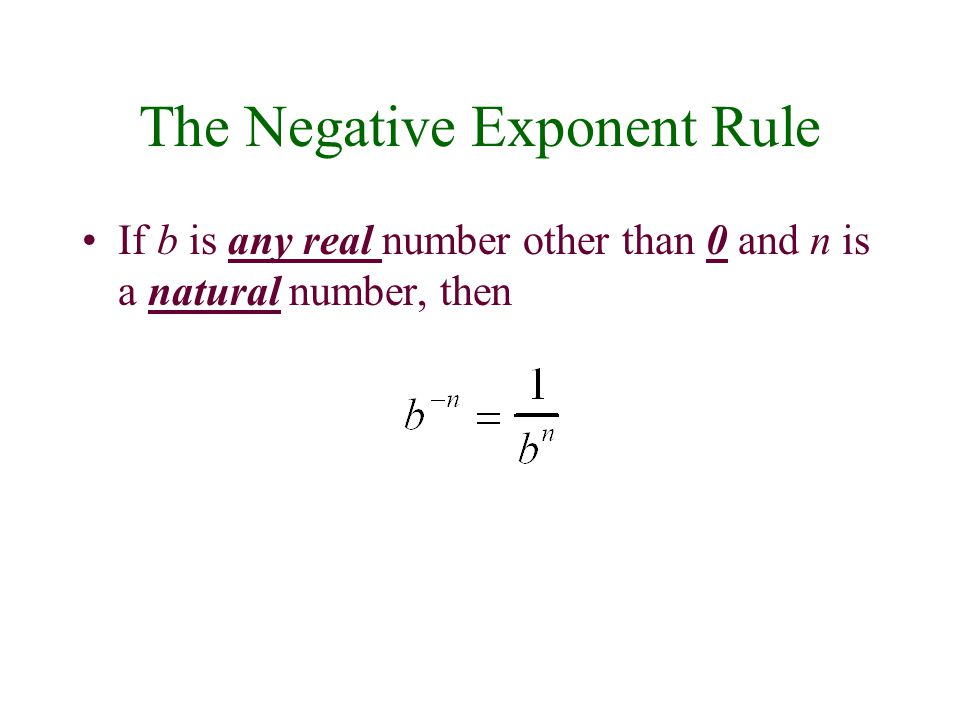 The Negative Exponent Rule