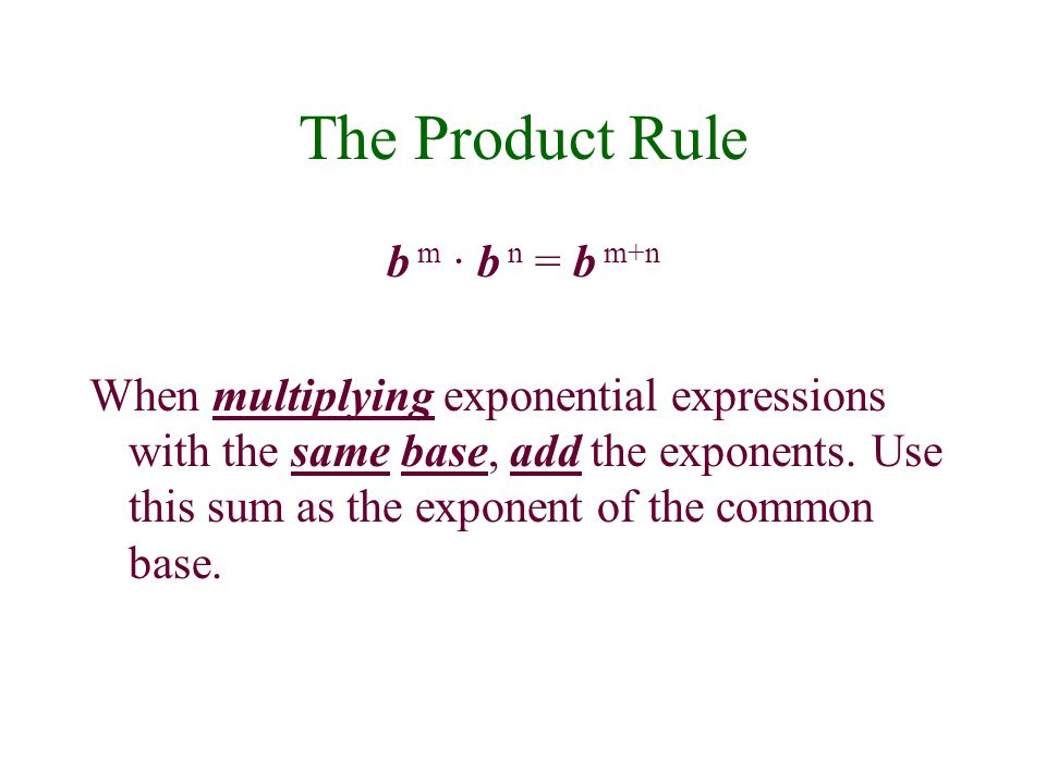 The Product Rule b m · b n = b m+n