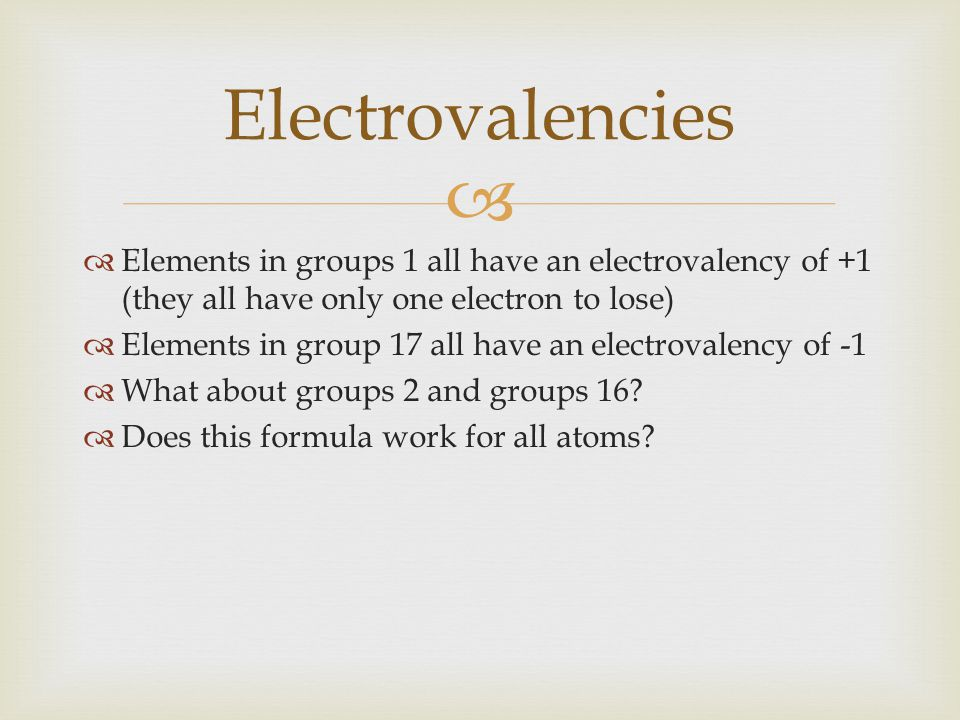 Electrovalencies Elements in groups 1 all have an electrovalency of +1 (they all have only one electron to lose)