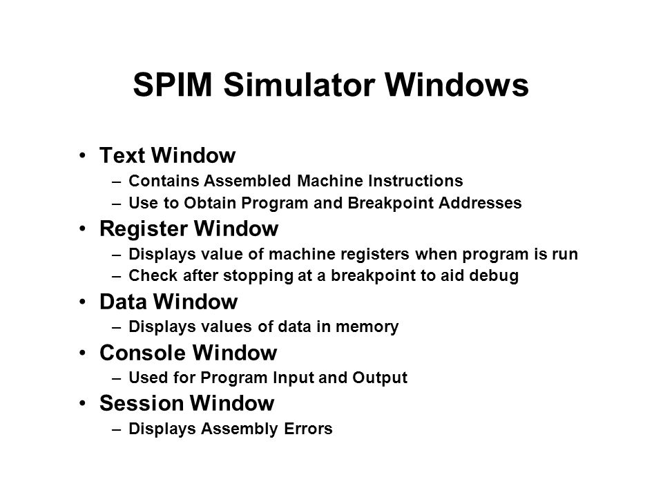 SPIM Simulator Windows