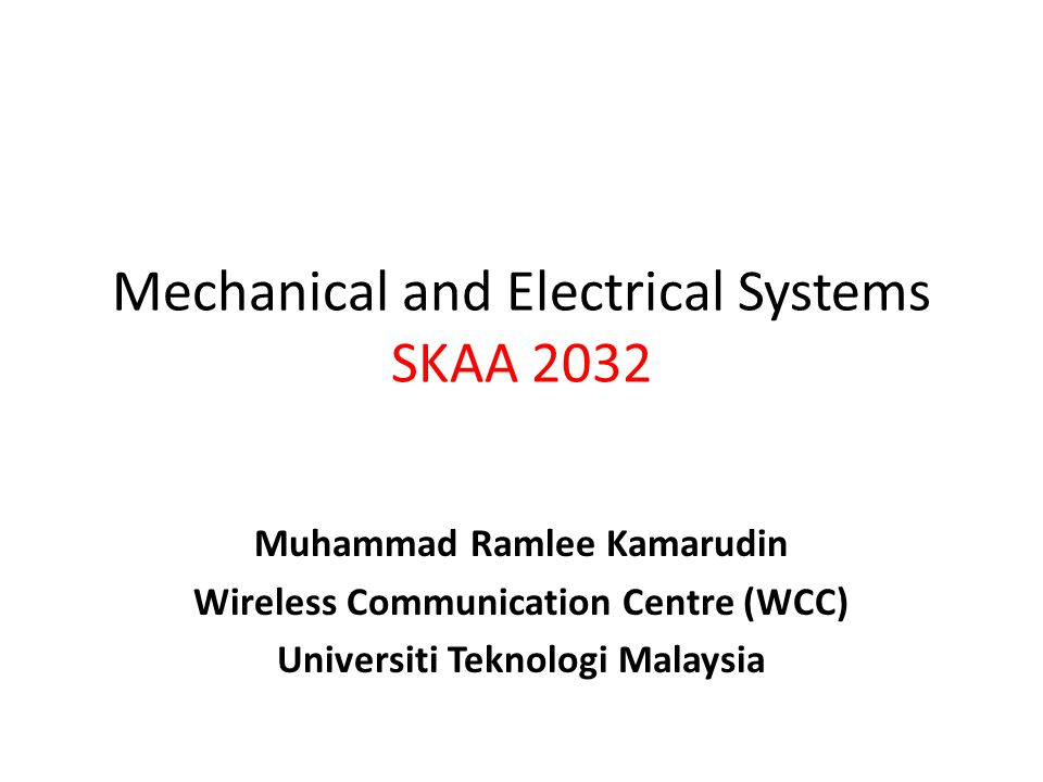 Mechanical And Electrical Systems Skaa Ppt Video Online