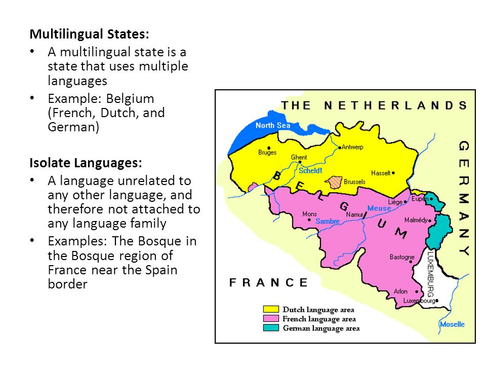 Multilingual States: A multilingual state is a state that uses multiple languages. Example: Belgium (French, Dutch, and German)