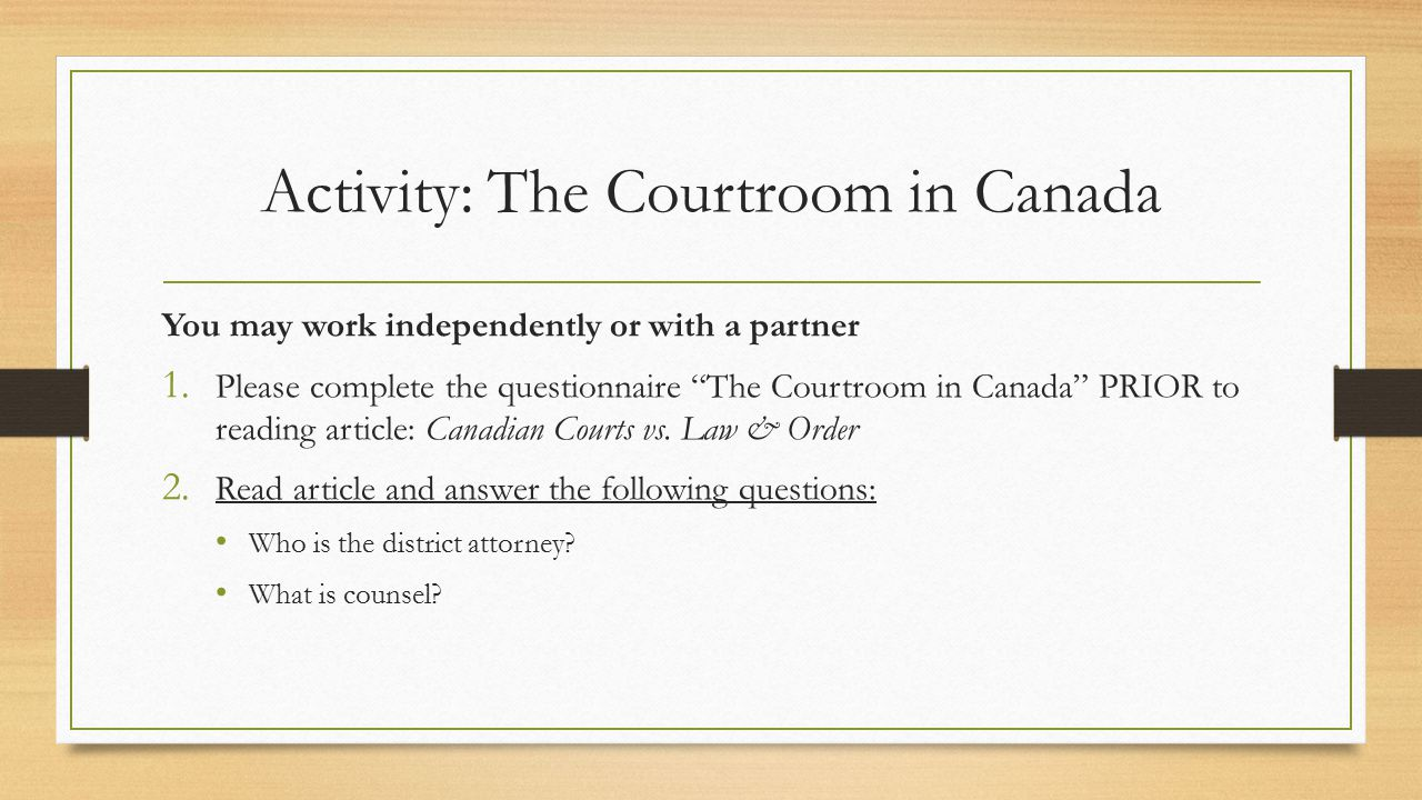 Activity: The Courtroom in Canada