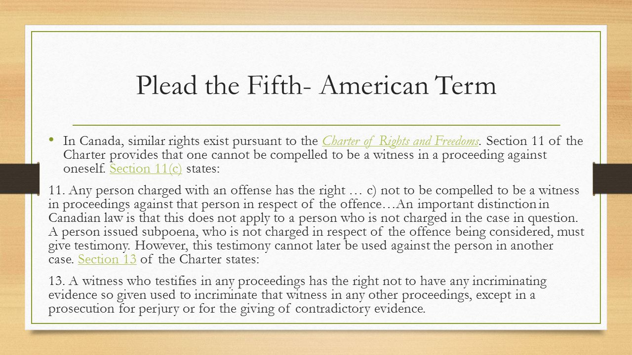 Plead the Fifth- American Term