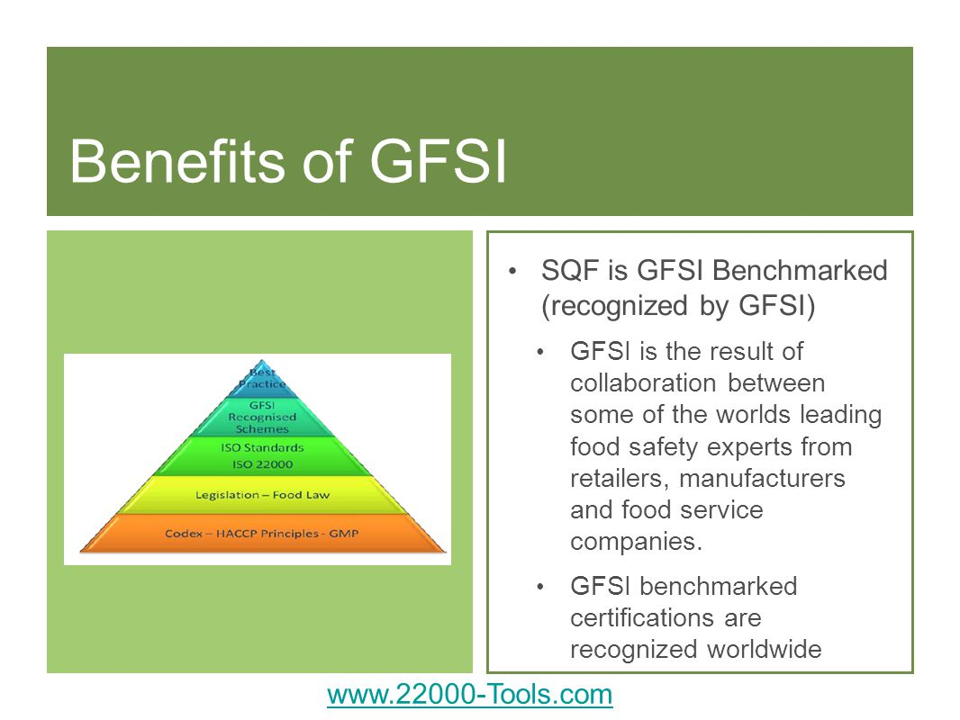 Benefits of GFSI SQF is GFSI Benchmarked (recognized by GFSI)