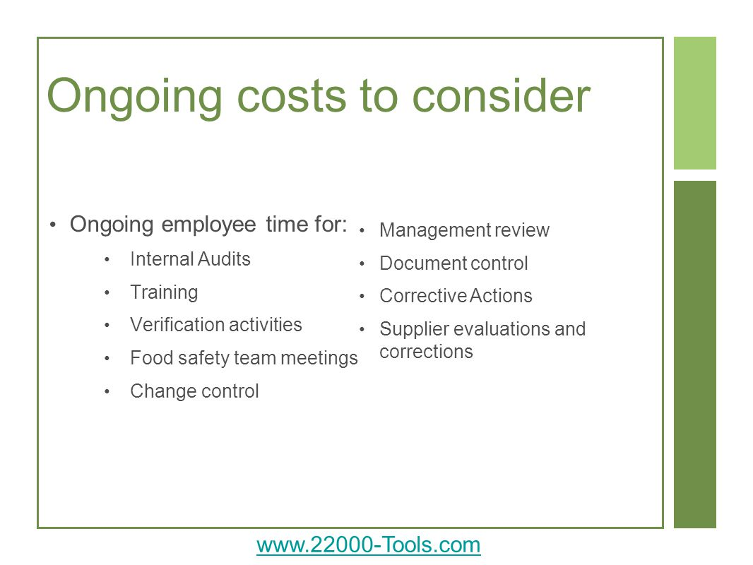 Ongoing costs to consider
