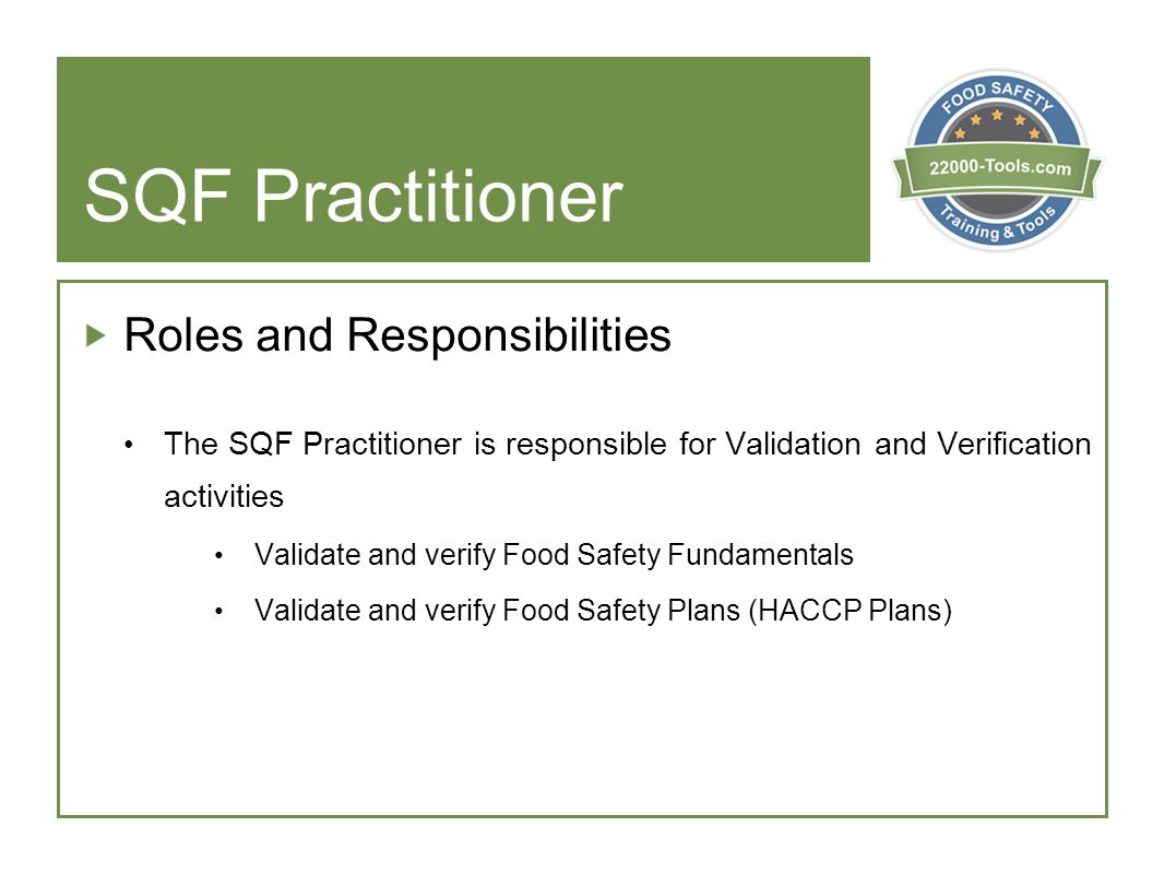 SQF Practitioner Roles and Responsibilities