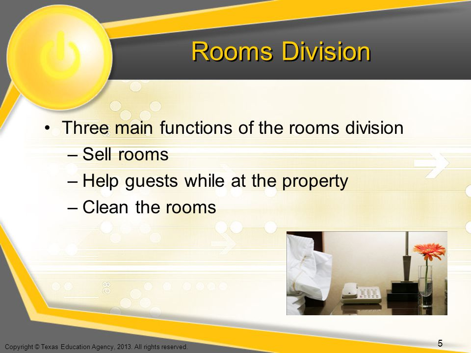 Rooms Division Three main functions of the rooms division Sell rooms