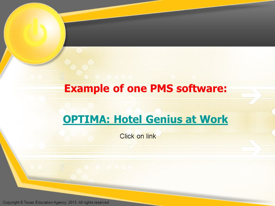 Example of one PMS software: OPTIMA: Hotel Genius at Work