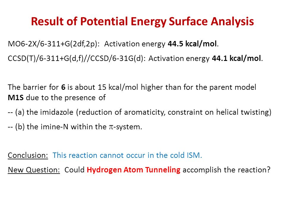 Result of Potential Energy Surface Analysis