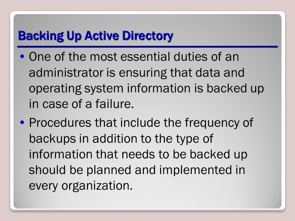 Backing Up Active Directory