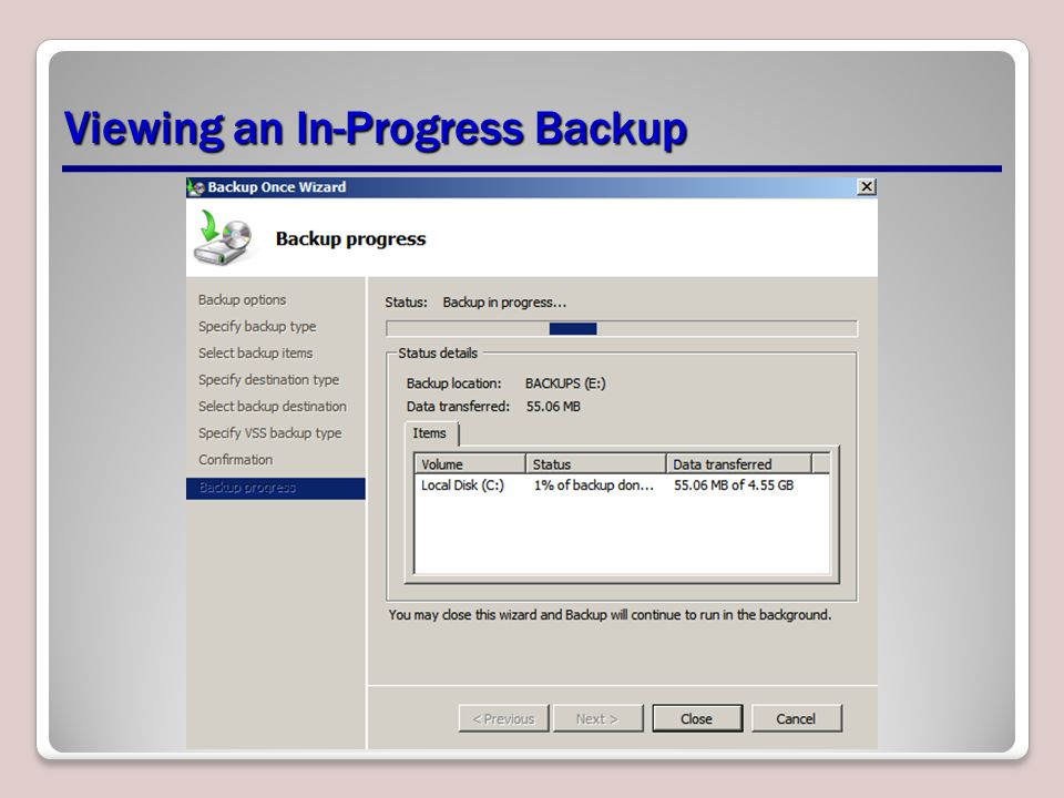 Viewing an In-Progress Backup