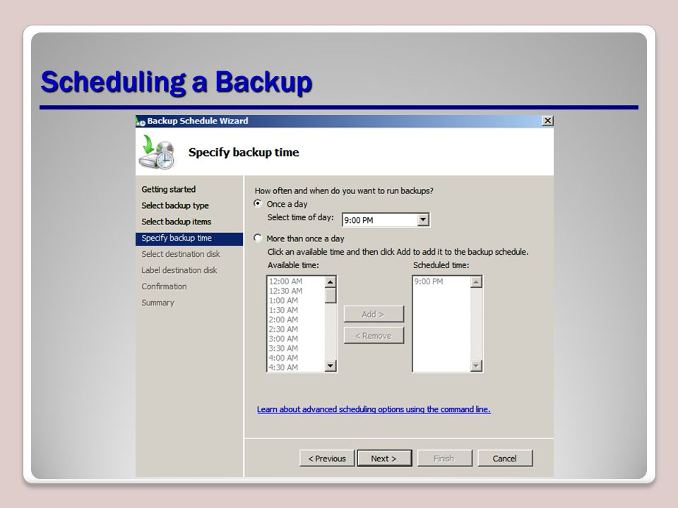 Scheduling a Backup