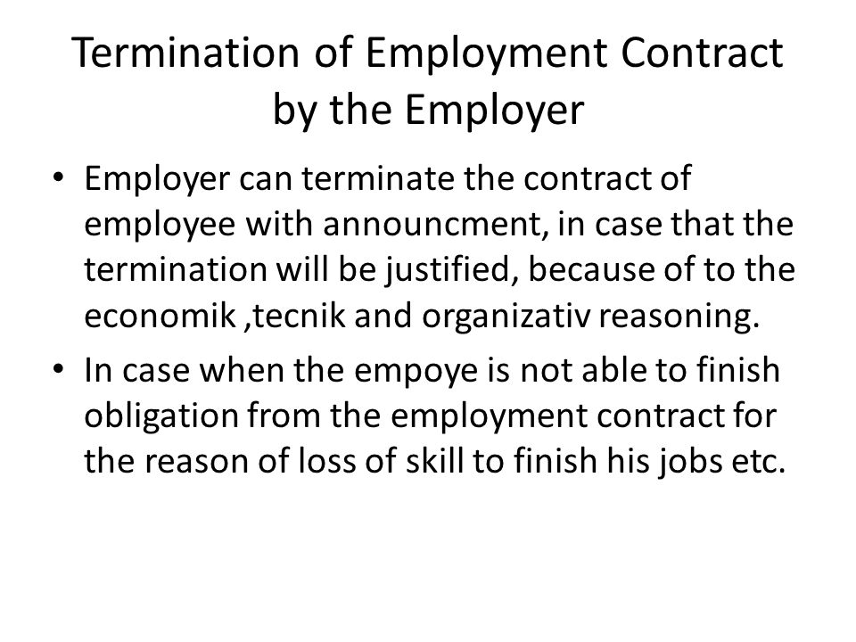 Termination of Employment Contract by the Employer