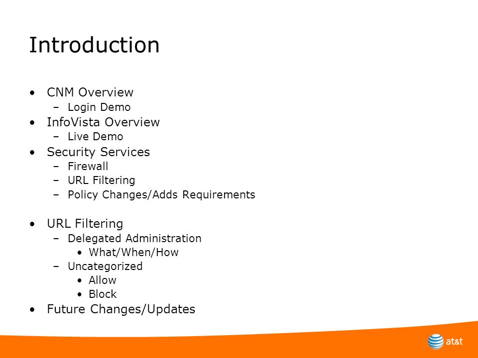 Introduction CNM Overview InfoVista Overview Security Services