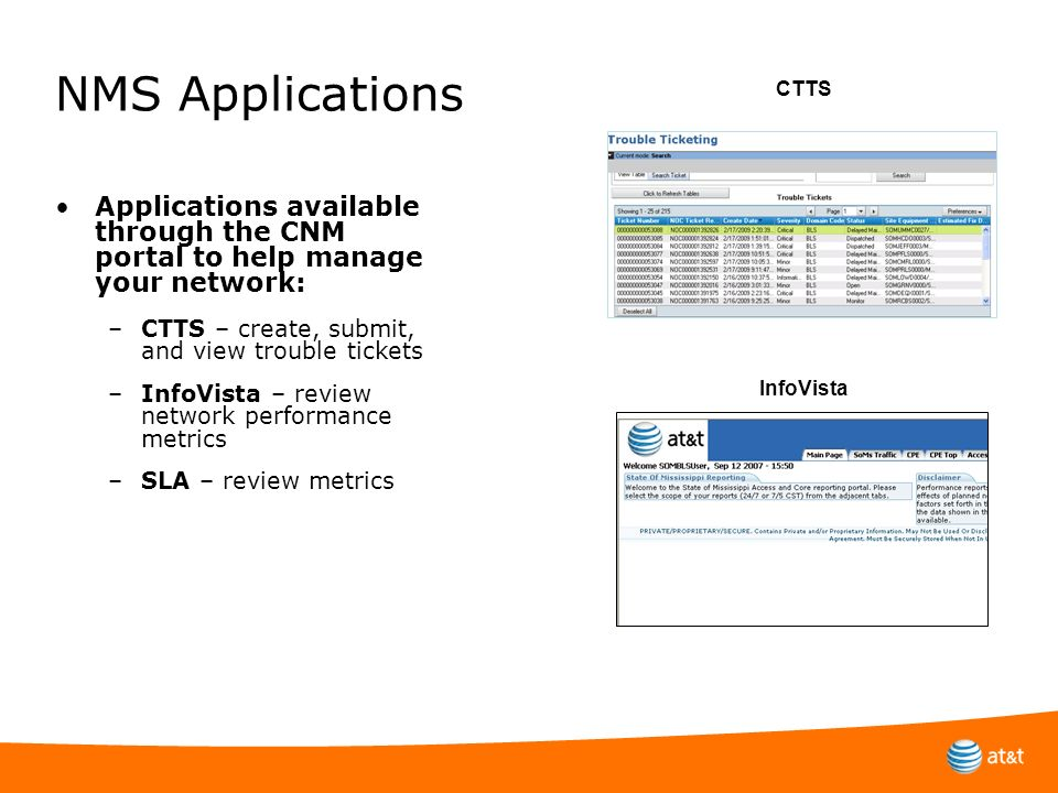 NMS Applications CTTS. Applications available through the CNM portal to help manage your network: CTTS – create, submit, and view trouble tickets.