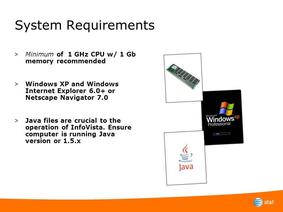 System Requirements Minimum of 1 GHz CPU w/ 1 Gb memory recommended