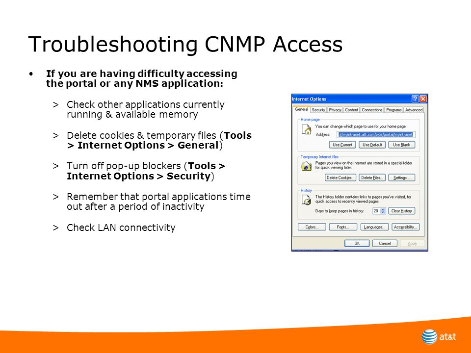 Troubleshooting CNMP Access