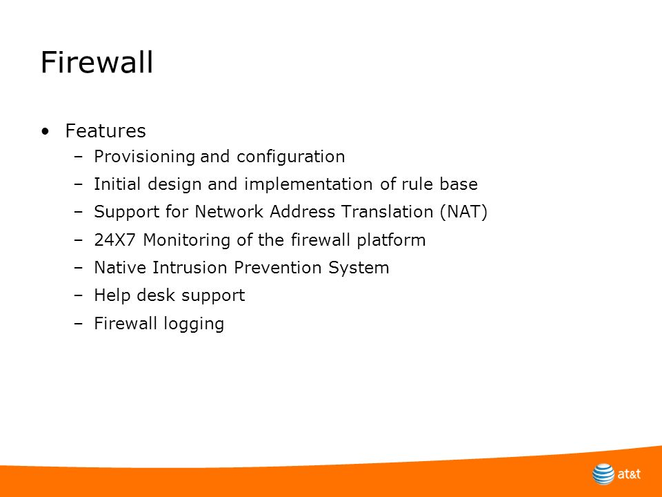 Firewall Features Provisioning and configuration