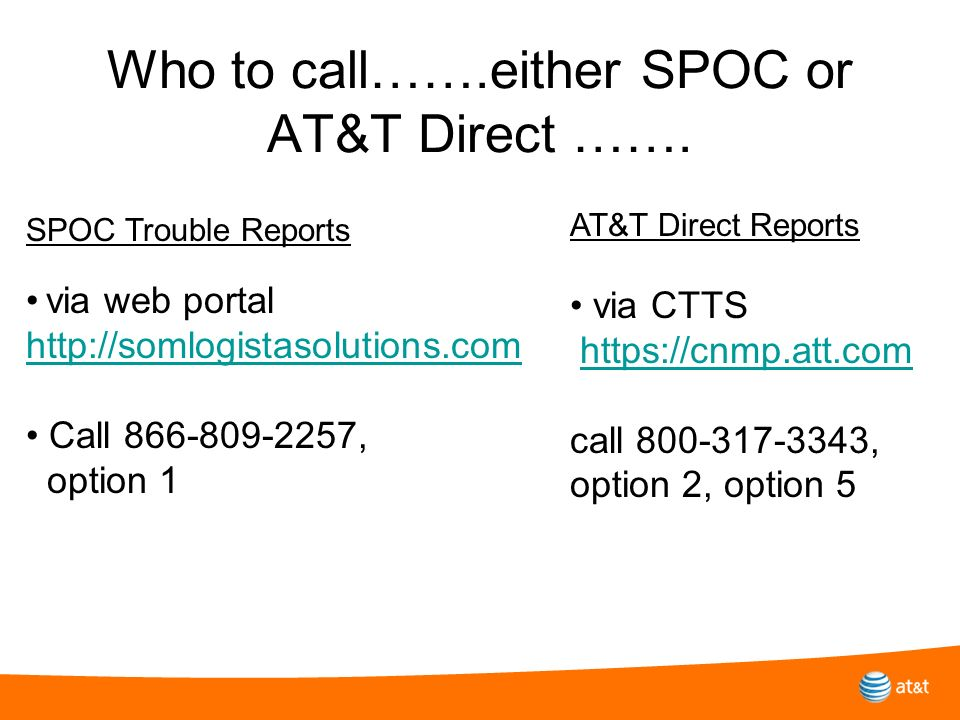 Who to call…….either SPOC or AT&T Direct …….