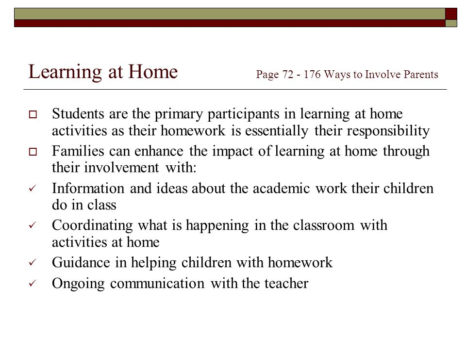 Learning at Home Page Ways to Involve Parents