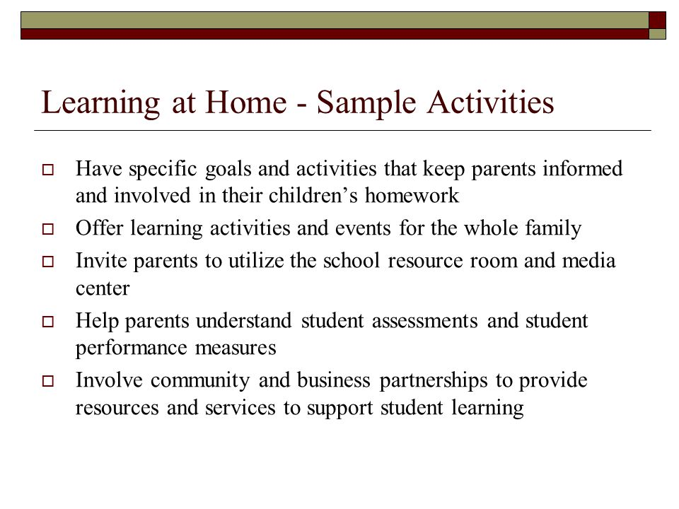 Learning at Home - Sample Activities