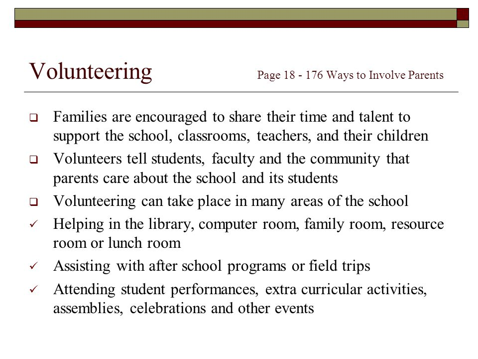 Volunteering Page Ways to Involve Parents