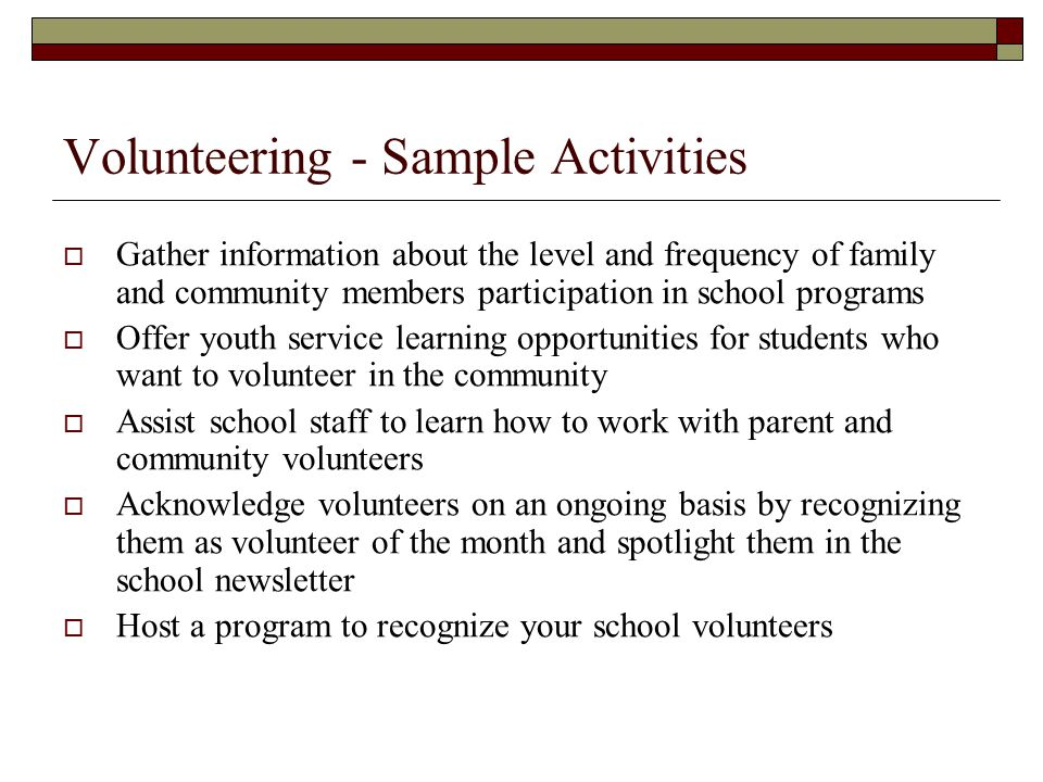 Volunteering - Sample Activities