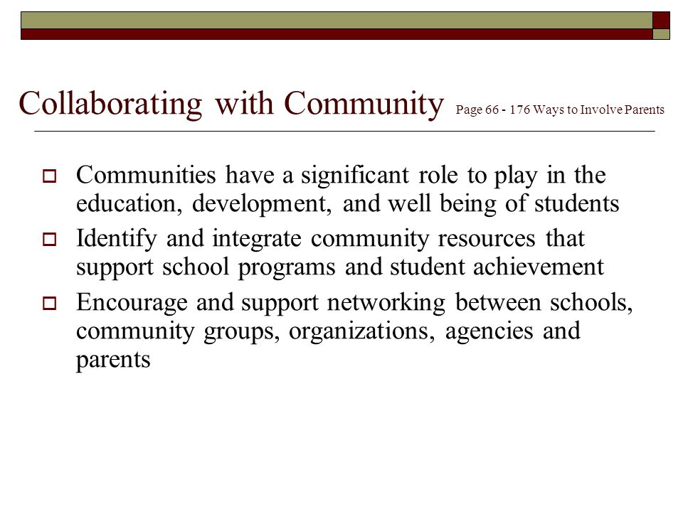 Collaborating with Community Page Ways to Involve Parents