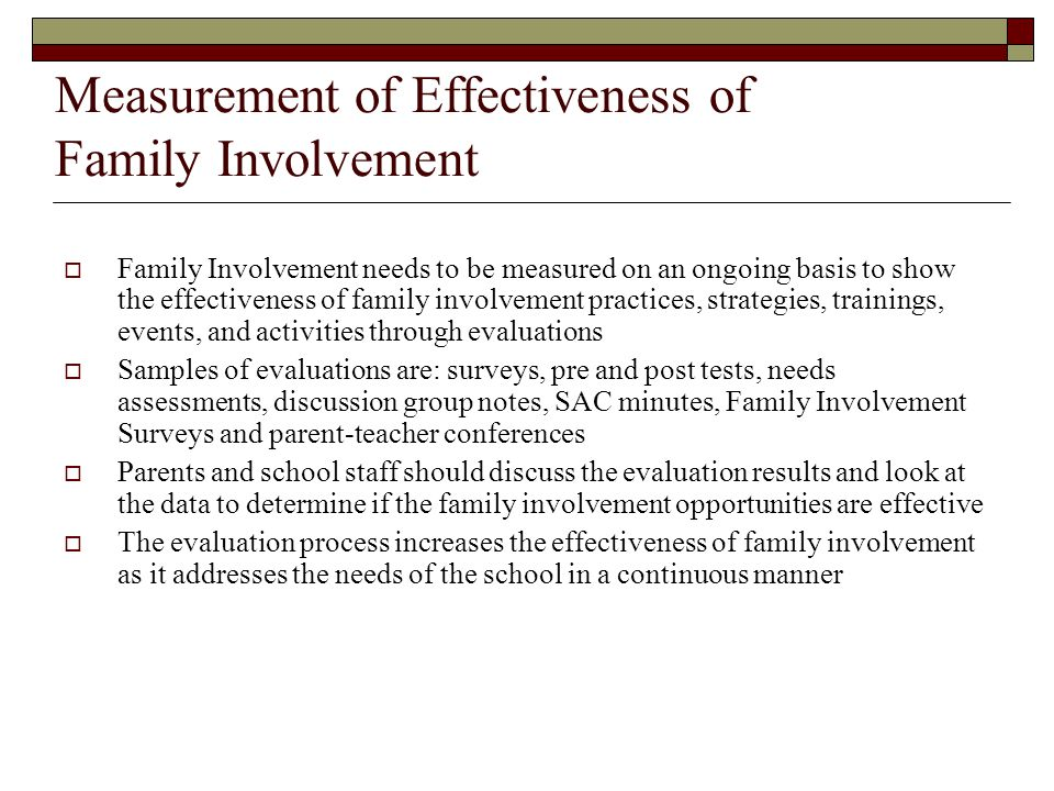 Measurement of Effectiveness of Family Involvement