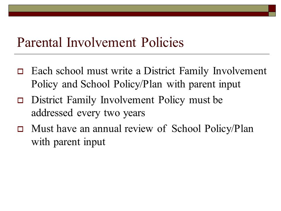 Parental Involvement Policies