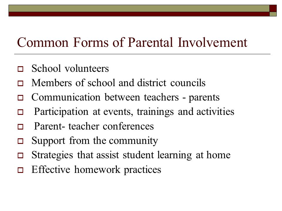Common Forms of Parental Involvement