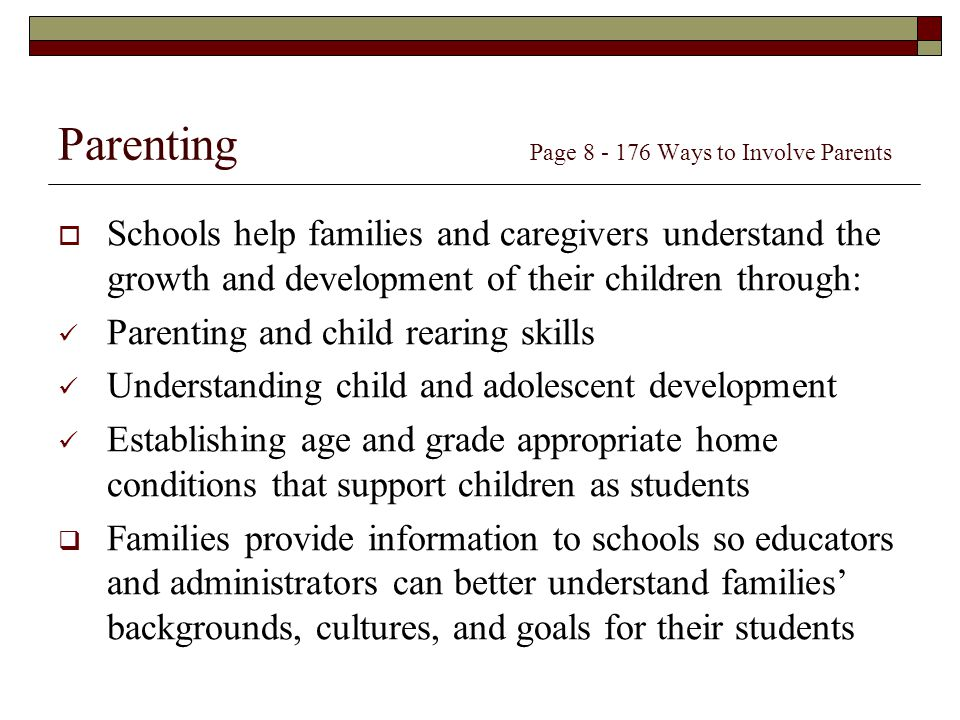 Parenting Page Ways to Involve Parents