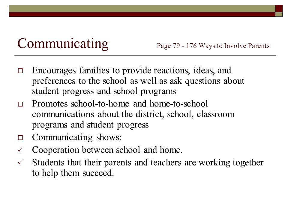 Communicating Page Ways to Involve Parents