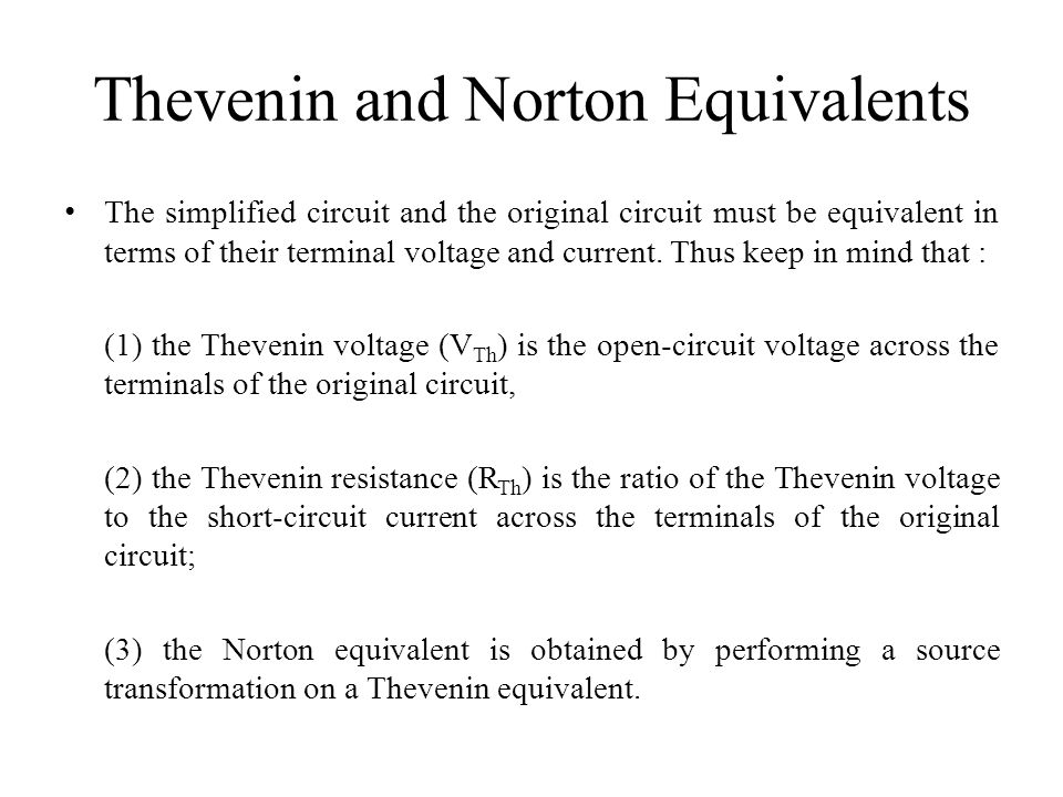 Thevenin and Norton Equivalents