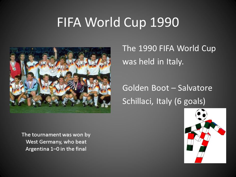 FIFA World Cup 1990 The 1990 FIFA World Cup was held in Italy. Golden Boot – Salvatore Schillaci, Italy (6 goals)