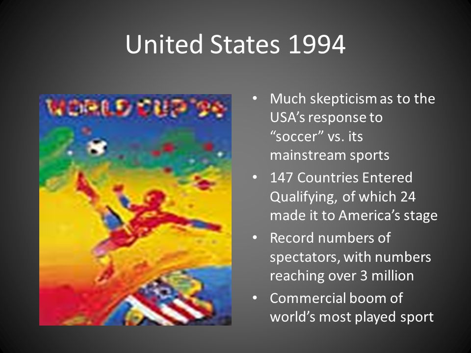 United States 1994 Much skepticism as to the USA's response to soccer vs. its mainstream sports.