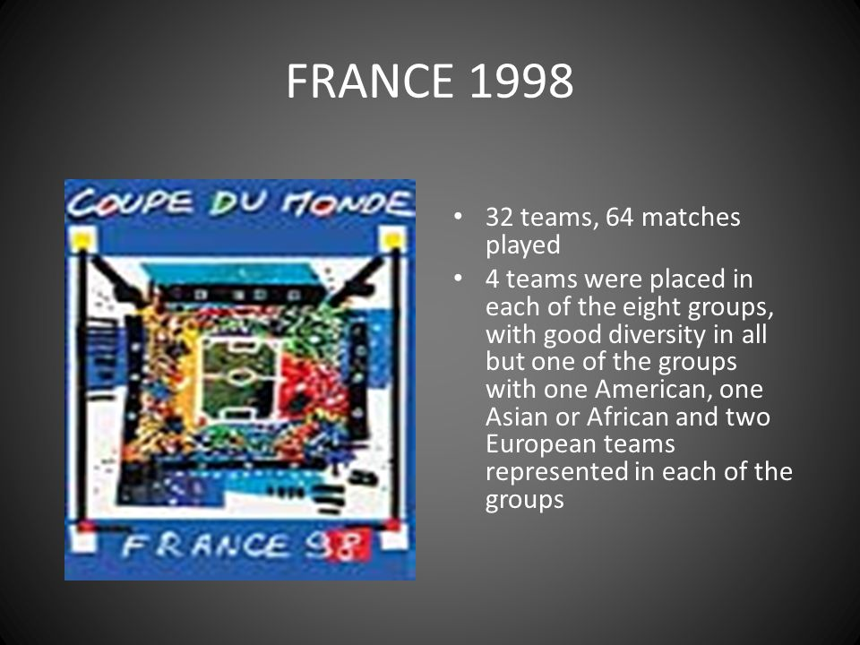FRANCE 1998 32 teams, 64 matches played