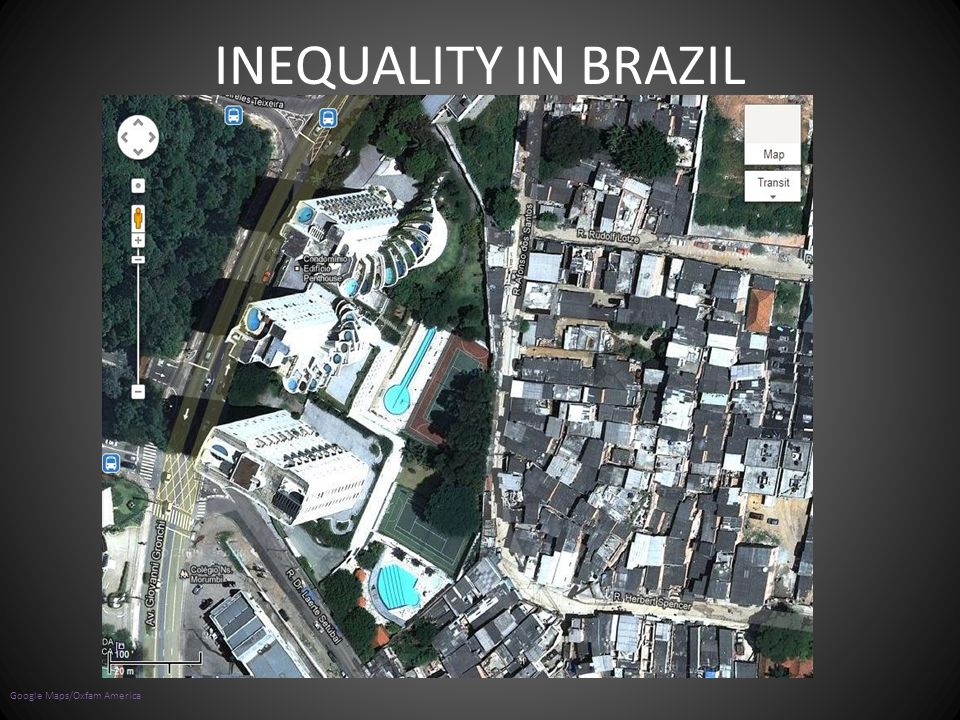 INEQUALITY IN BRAZIL Look at the image. What is going on What are the buildings like on one half compared to the other