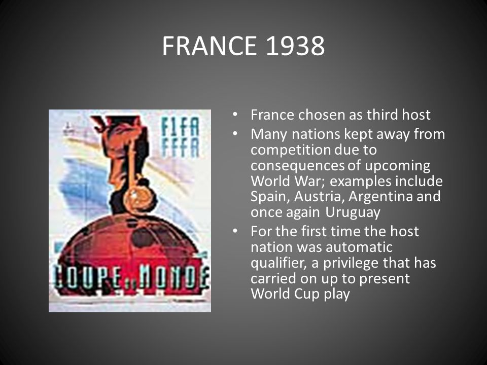 FRANCE 1938 France chosen as third host