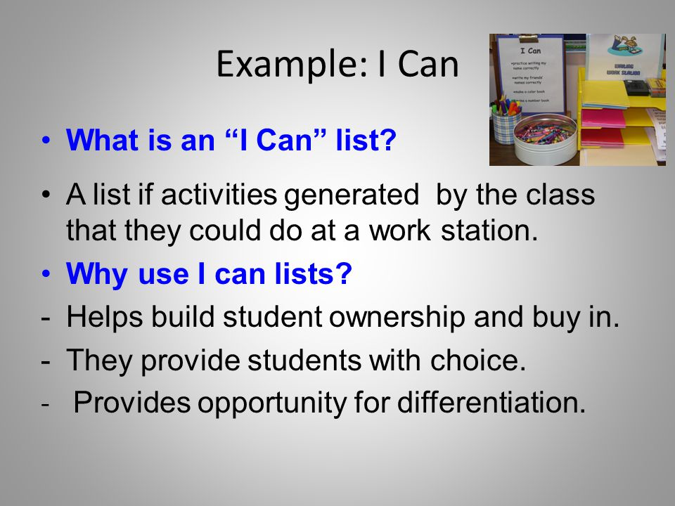 Example: I Can What is an I Can list