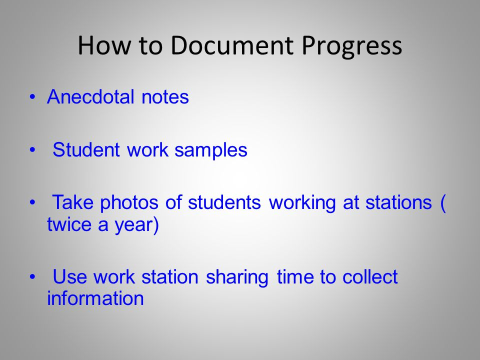 How to Document Progress