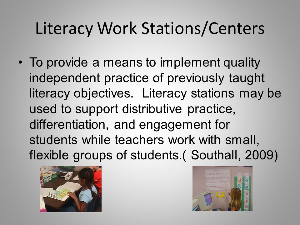 Literacy Work Stations/Centers