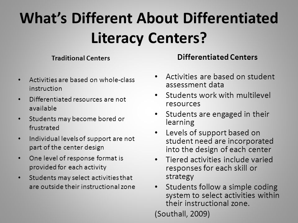 What's Different About Differentiated Literacy Centers