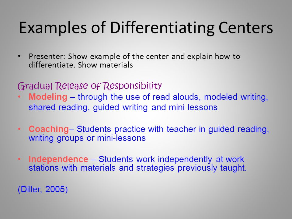 Examples of Differentiating Centers