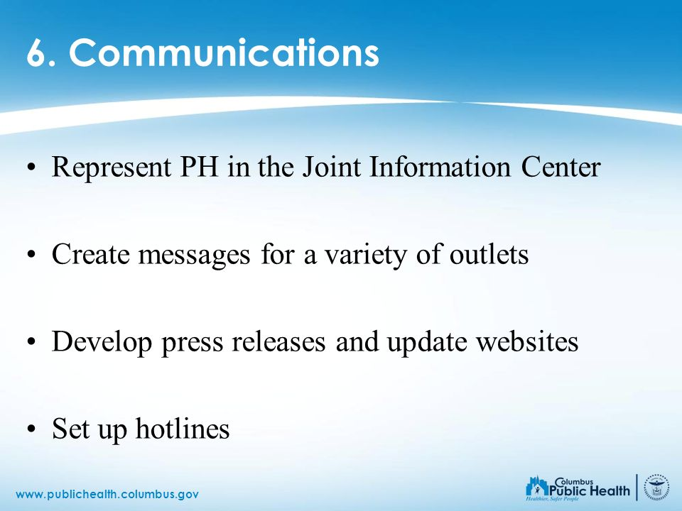 6. Communications Represent PH in the Joint Information Center
