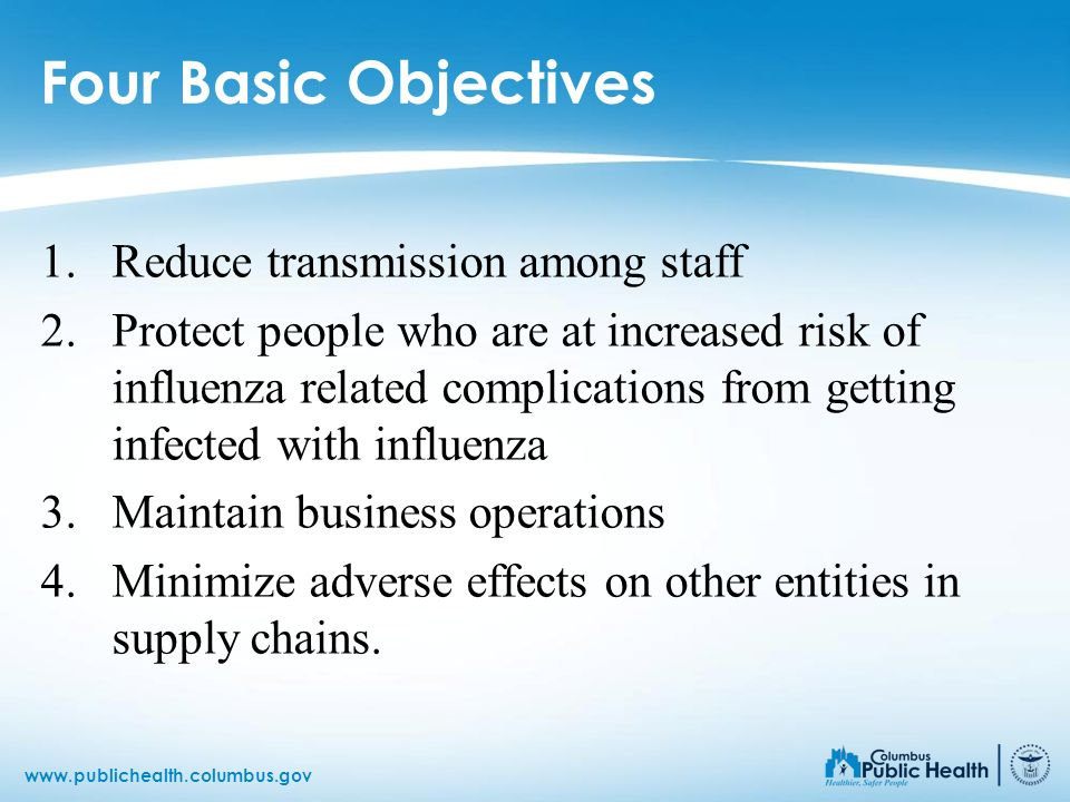 Four Basic Objectives Reduce transmission among staff