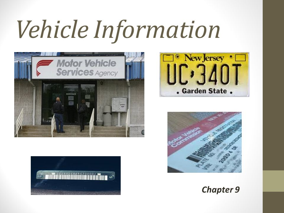 Vehicle Information Chapter 9