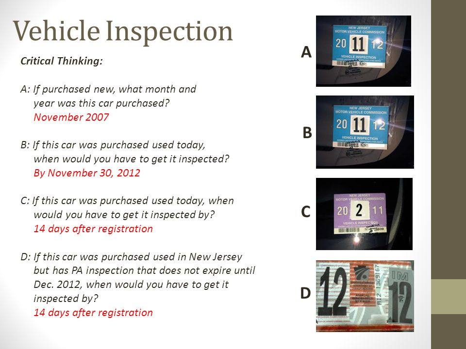Vehicle Inspection A B C D Critical Thinking: